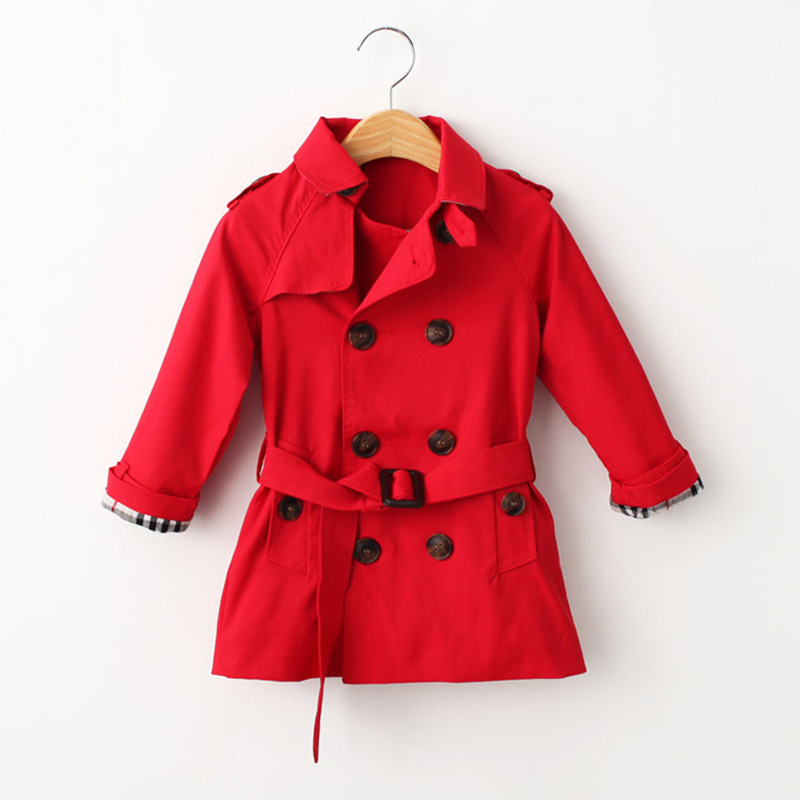 Tench Coat Boy Girl Clothes Windproof Jacket Double Breasted Coat British Windbreaker Turn-down Collar Button Belt Kids Outwear