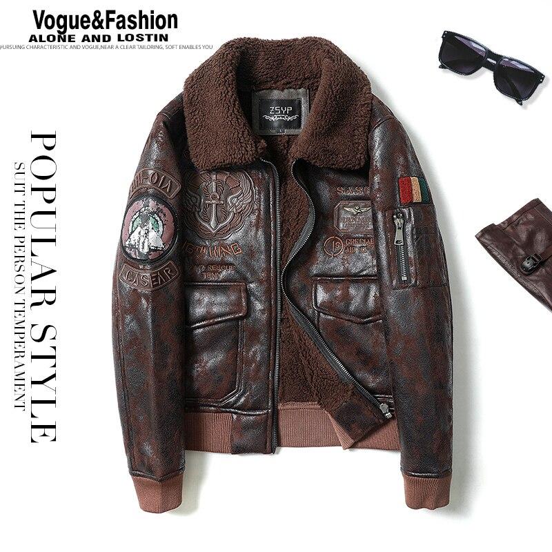 Mens Leather Jacket Fur Collar Flight Jacket Motorcycle Jacket