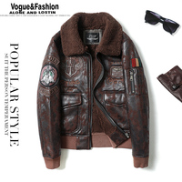 Mens Leather Jacket Fur Collar Flight Jacket Motorcycle Jacket winter warm coat good quality
