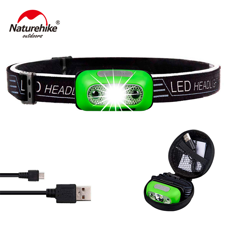 Naturehike Ultralight Portable Headlight For Women Kids Indoor Outdoor Use - Ultra Bright 350 Lumens Rechargeable NH18LHL0-G