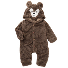 купить Super Warm Baby Romper For Boy Girl Cosplay Bear Autumn Winter Romper Hooded Fleece Baby Clothes Jumpsuit 2019 New Arrival D30 онлайн