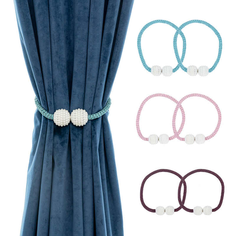 Pearl Magnetic Curtain Tieback Window Strap Buckle Holder Clips Hanging Ball For Curtain Straps Home Decoration Accessories