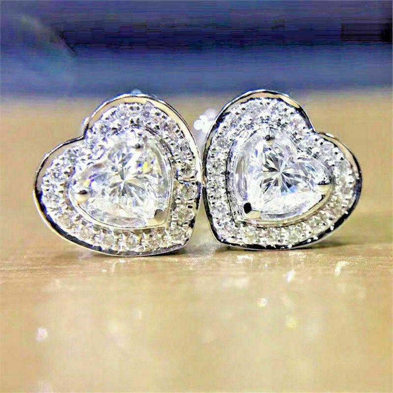 Huitan Timeless Styling Love Earrings Women Crystal Cubic Zirconia Fancy Stud Earrings Anniversary Gift Girls Heart Accessories