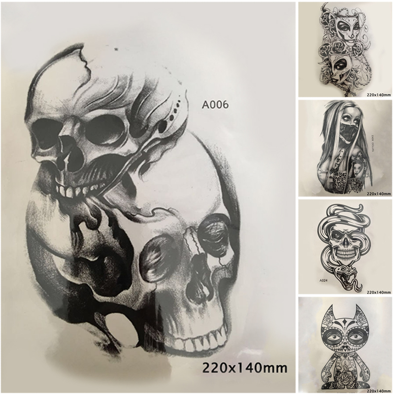 DIY Waterproof Temporary Tattoo Sticker Disposable Cool Punk Skull Pattern Tattoo Arm Body Art Large Fake Sleeve Shoulder Tattoo
