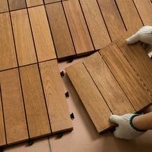 1 шт. Блокировка напольных плиток из твердой тиковой древесины подходит для внутреннего и наружного применения узор в полоску 30*30*2,7 см