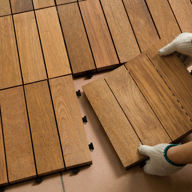 1PC Interlocking Flooring Tiles In Solid Teak Wood  Suitable For Indoor And Outdoor Applications Stripe Pattern 30*30*2.7cm