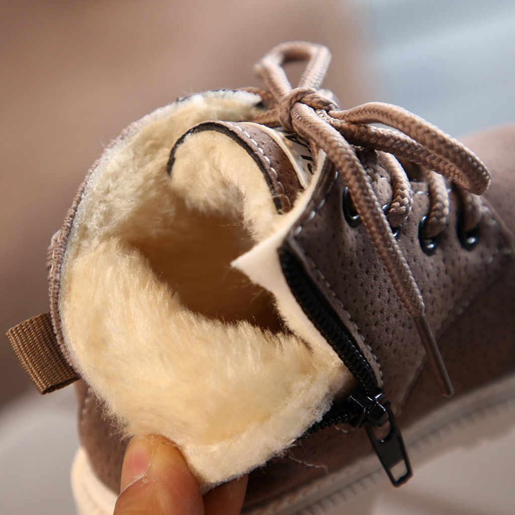 Nieuwe kinderen laarzen sneeuw boot Peuter Infant Kids Baby Meisjes Jongens Warme Laarzen Lace Up Schoenen Korte Enkellaarsjes meisjes laarzen # guahao