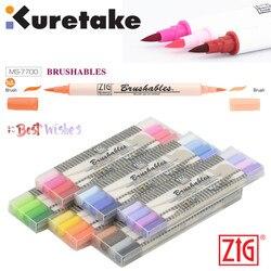 ZIG Kuretake MS-7700 Wasserdichte Brushables Pinsel up auf farbe Twin Tip Pinsel 4Pcs Marker Pen-Set Japan