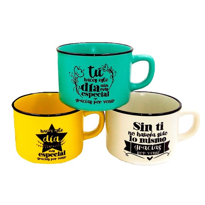Cup Mugs Frases Thanks For Coming In Cash Box Kraft Gift-Details And Gifts For Weddings, Holy Communion, October Birthday And Baptisms