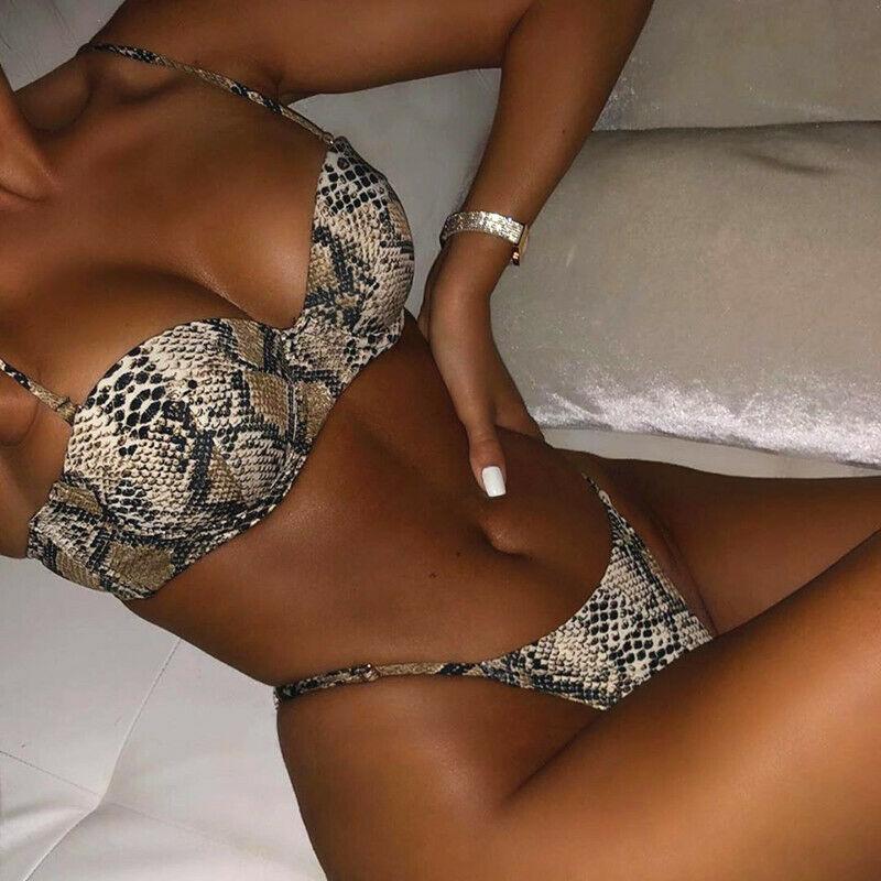 AU Women Snakeskin Push Up Bikini Set Padded Bra Thong Swimwear Bathing Swimsuit