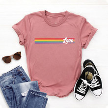 Roupas de grandes dimensões amor arco-íris orgulho lgbt gay orgulho topos mulheres homens solto casual t manga curta grunge moda gótico unisex
