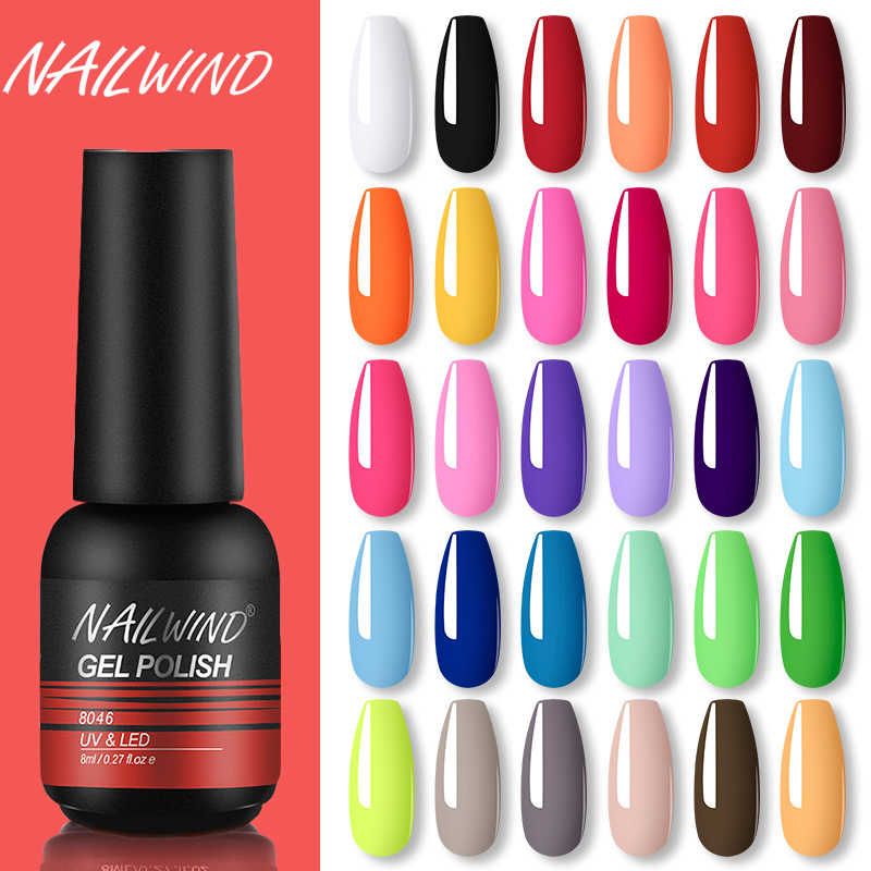 NAILWIND Kuku Gel Polandia UV LED Lamp Gel Pernis Lukisan Hybrid Manicute Set untuk Kuku Seni Perlu Base Top Coat gel Polandia