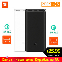 Xiaomi Power Bank 20000mAh PLM06ZM Dual USB Ports Fast Charging QC 3.0 20000 mAh Mi Powerbank External Battery portable charging