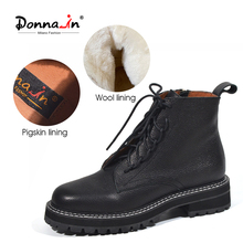 Donna-in Wool Liner Women Black Martin Boots Thick Bottom Lace Up Genuine Leather Platform Shoes Autumn Winter Motorcycle Boots