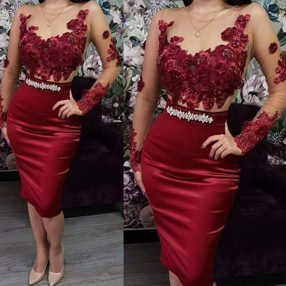 Wine Red Prom Dresses 2020 Sheer Crew Neck Long Sleeve Lace Flowers Crystal Sheath Knee Length Burgundy Evening Dresses Gowns