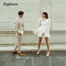 Eightree vintage marfim organza vestidos de casamento curto puff mangas compridas gravata gola alta babados praia casamento vestidos de noiva