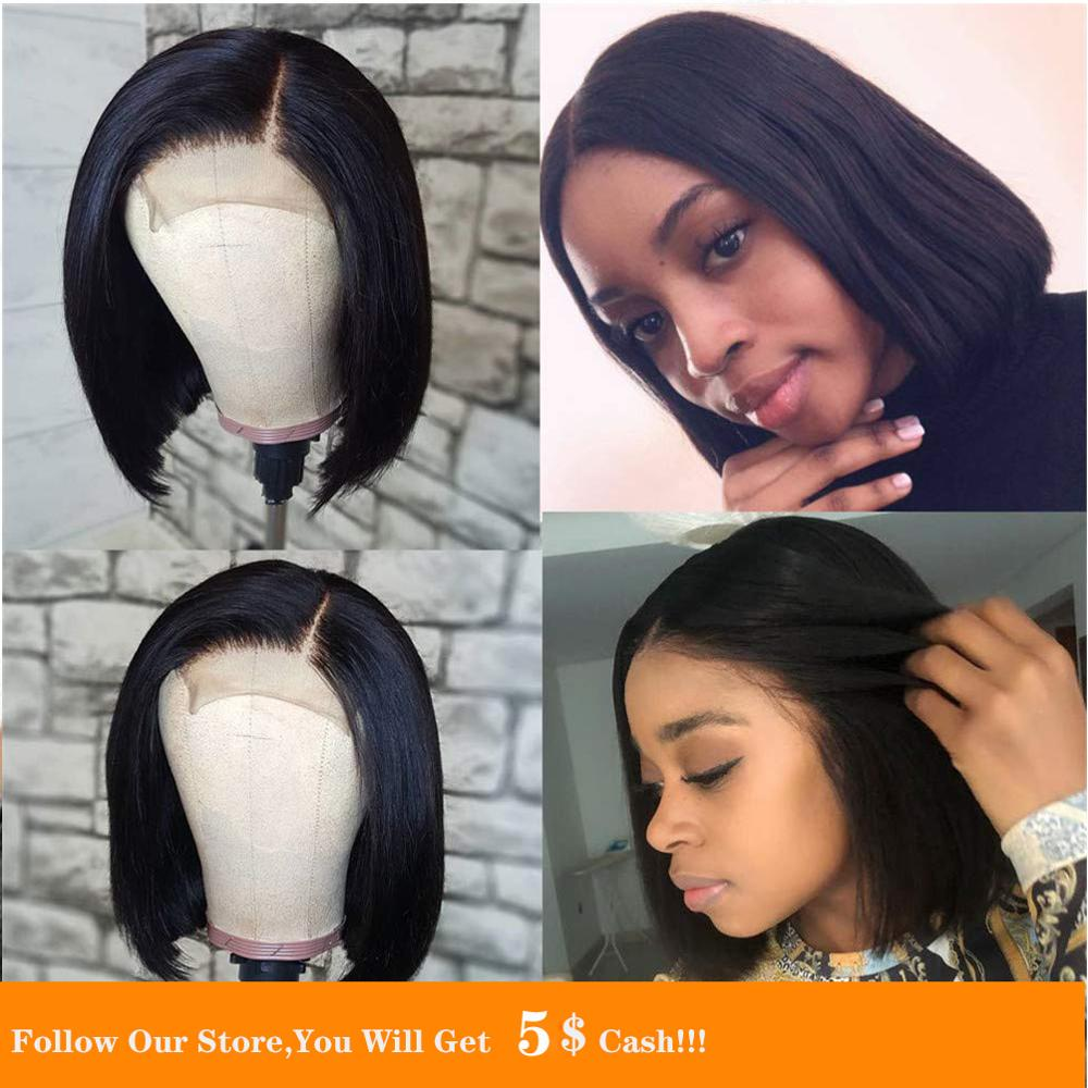 13x4 Bob Heat Resistant Fiber Hair Synthetic Wig Mermaid Black Color Silky Straight Synthetic Lace Front Wigs For Black Women