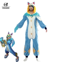 ROLECOS LOL Ezreal Pajama Cosplay Star Guardian LOL Costume Game Cosplay Men Costume Winter Pajama