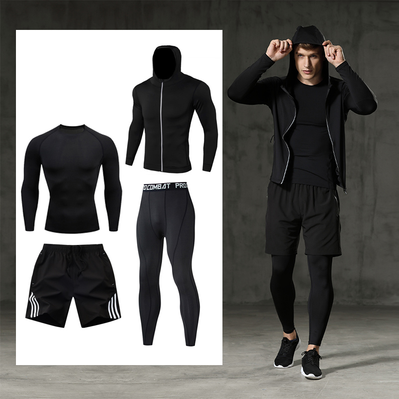 Men's Clothing Set Fitness Bodybuilding Clothes Compression Tights Quick-drying 2-4 Pieces Sportswear Set Jogging Suit Gentlemen