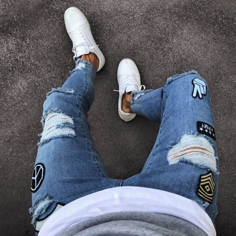 4 Styles Men Stretchy Ripped Skinny Biker Embroidery Print Jeans Destroyed Hole Taped Slim Fit Denim Scratched High Quality Jean