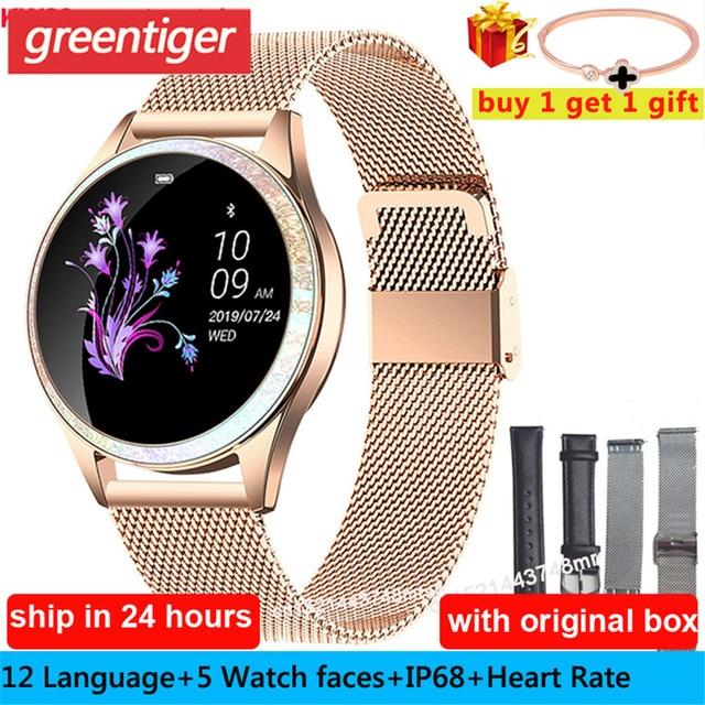 KW20 스마트 시계 여성 IP68 방수 손목 시계 심장 박동 블루투스 시계 여성 팔찌 2019 레이디 시계 VS KW10 Smartwatch.