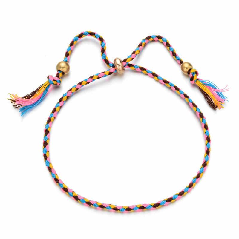 Tibetano quatro-cor jogando mão tricô pulseira, grânulo de cobre, borla tornozeleiras