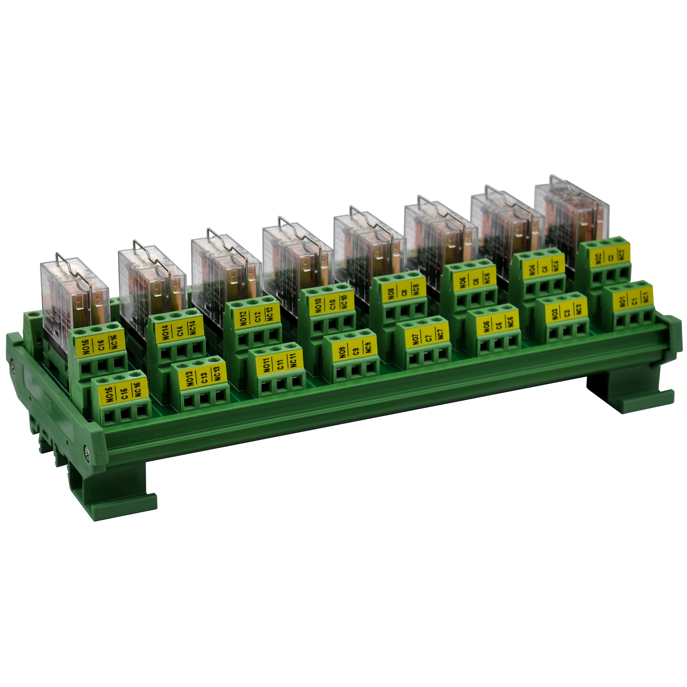 ELECTRONICS-SALON DIN Rail Mount AC/DC 5V Control 8 DPDT 5Amp Pluggable Power Relay Interface Module.