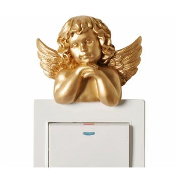 Europa żywica 3D naklejki stereoskopowe anioł rzeźba gniazdo ozdoby naklejki na wyłącznik dekoracyjne ślubne dekoracyjne do ozdoby domu tanie i dobre opinie Resin Samoprzylepne Tłoczone Decorative wall sticker