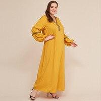 Loose Oversized Muslim Dress Women Autumn Embroidery V Neck Long Sleeve Plus Size Dress Yellow Ladies Tunci Maxi Long Dresses
