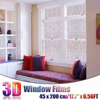 45x200cm nieprzylepny statyczny 3D nieregularny wzór kolorowe dekoracyjne prywatność ochrona przed słońcem okno tęczowe folie szklany kij tanie i dobre opinie Samoprzylepne Other Szkło filmy