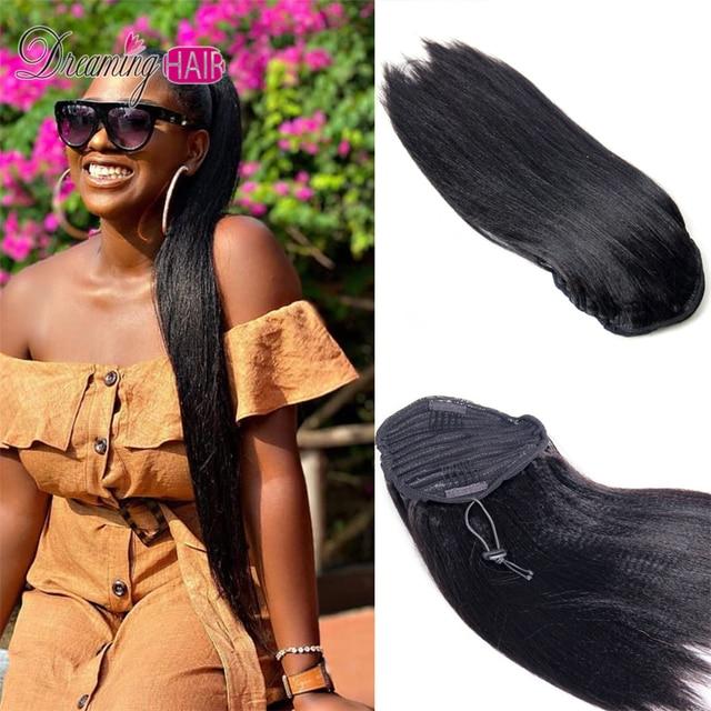 Extension de cheveux Yaki italien épais, queue de cheval lisse, cordon de serrage, cheveux naturels crépus et lisses, queue de cheval pour femmes noires