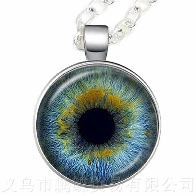 2018 חדש טרנדי חתול עיני אמנות תמונה עיניים רעות שרשרת 25mm זכוכית קרושון סוודר שרשרת מתנה לחברים תלמיד של העין