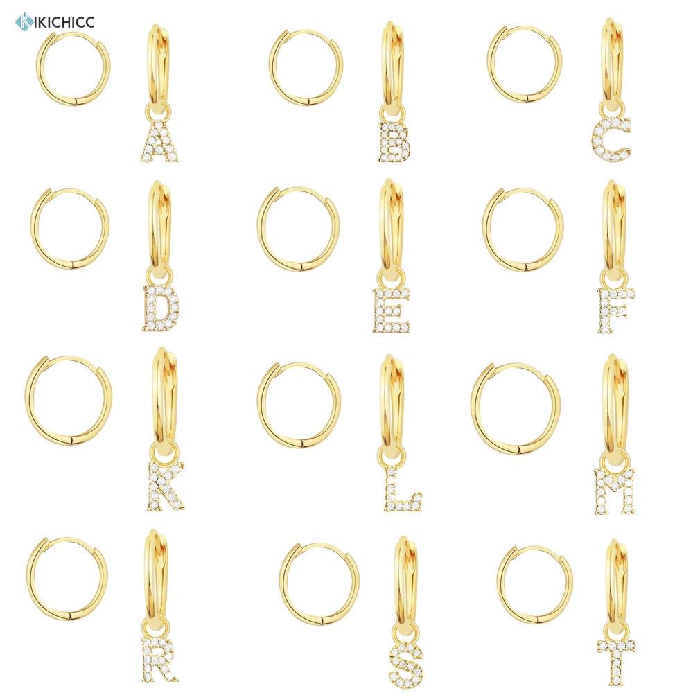 Kikichicc Gold Dangle Initial Letter Drop Earring 925 Sterling Silver 26 Alphabet Piercing Pendiente Luxury Ohrringe Jewelry