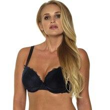 1681 솔리드 컬러 블랙 푸시 업 란제리 섹시한 레이스 브래지어 조절 가능한 어깨 스트랩 속옷 30 32 34 36 38 40 42 46