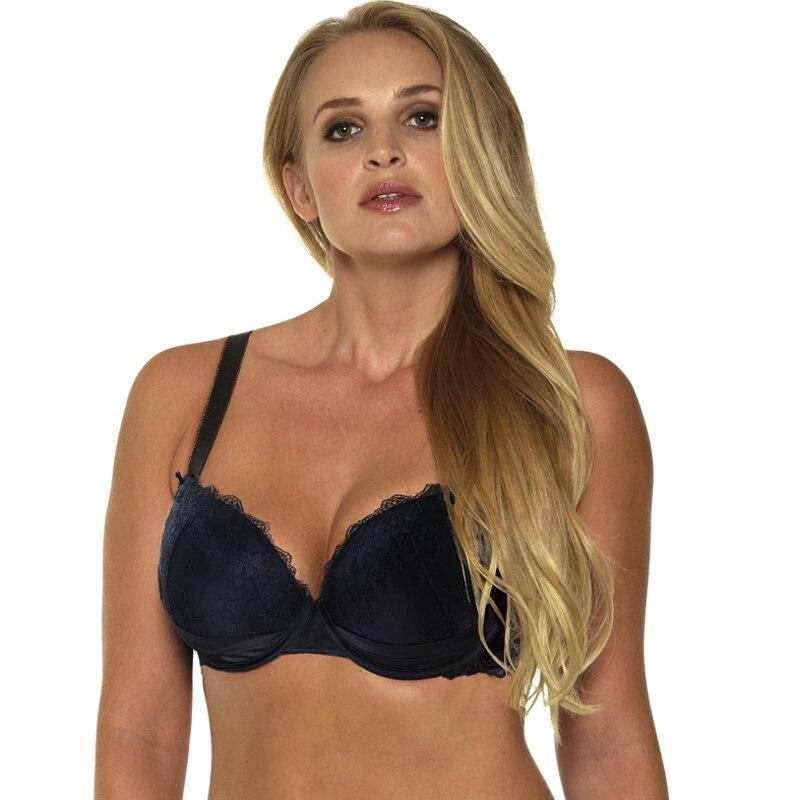 1681Solid Color Black Push Up Lingerie Sexy Lace Bra Adjustable Shoulder Strap Underwear 30-32-34-36-38-40-42-46