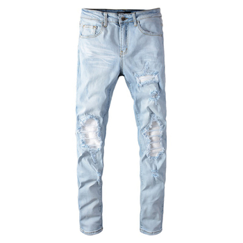 Sokotoo Men's Pale Light Blue White Pleated Patchwork Jeans Fashion Slim Skinny Holes Ripped Stretch Denim Pants