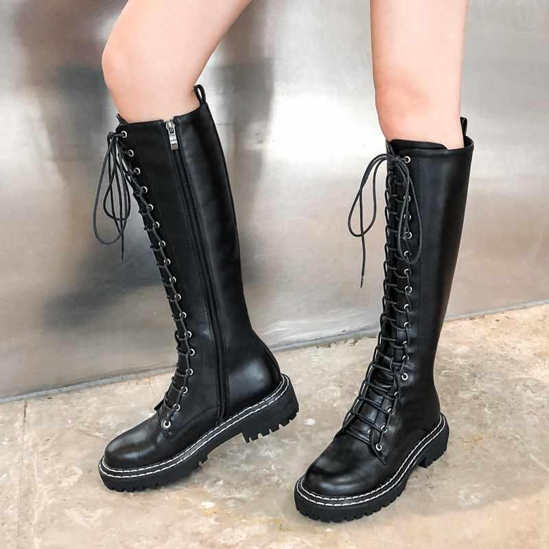 Prova Perfetto High-end İngiltere tarzı Martin çizmeler siyah uzun hakiki deri dantel-up yumuşak deri kadın botları kış sıcak
