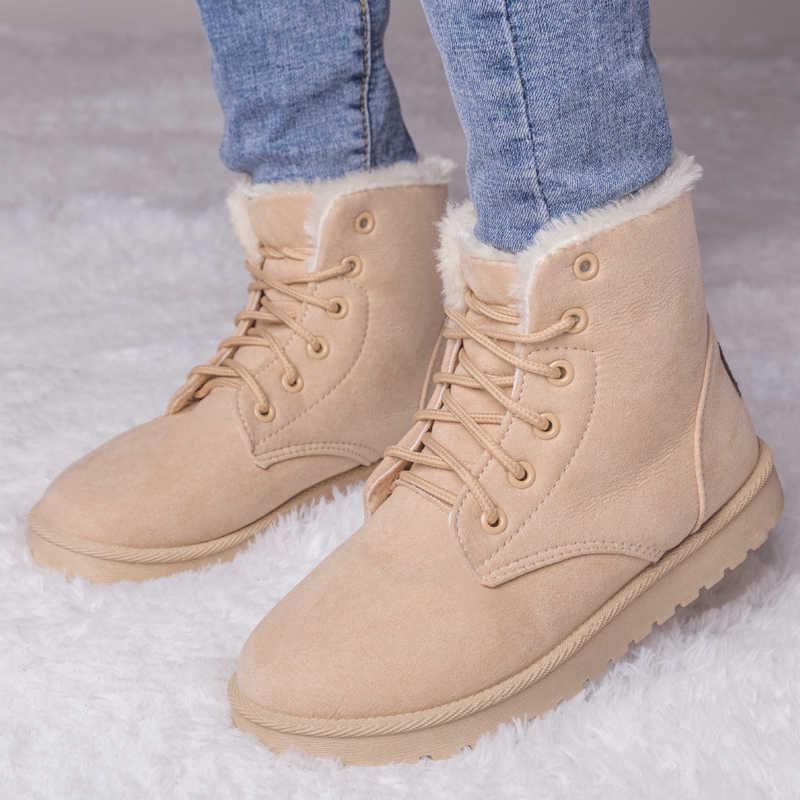 Yarım çizmeler kadınlar için kış botları sıcak kürk kar botları kadın kış ayakkabı kadın patik ayakkabı artı boyutu 42 43 Botas mujer
