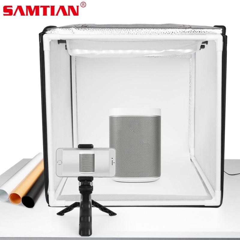 SAMTIAN boîte lumineuse 40*40CM pliant LED Lightbox Studio Photo boîte avec 3 couleurs fond pour bijoux jouet accessoires photographie