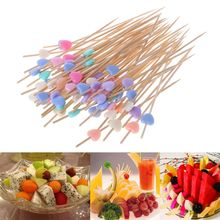 100 шт 12 см в форме сердца, палочки для еды, десерт, буфет, вилка для фруктового салата, торта, маффинов, вечерние растительные палочки, Коктейльные зубочистки