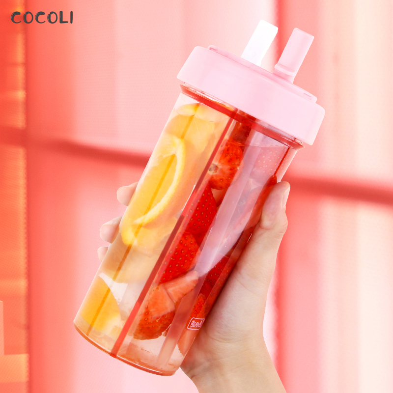 Double Sippy Drink Cup Creative Lovers Water Bottle Caneca Outdoor Sports Tumbler Coffee Mug Double tube Opening Design Keepcup|Water Bottles| |  - AliExpress