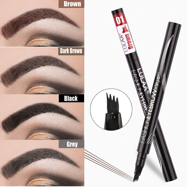 Waterproof Natural Eyebrow Pen Four-claw Eye Brow Tint Makeup three Colors Eyebrow Pencil Brown Black Grey Brush Cosmetics 2
