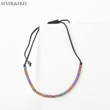 Fever&Free Hot Sale Rainbow Beads Bracelet Rope Chain Handmade Weave Charm Bracelets Bangles For Women Cute Braclet Jewelry Gift