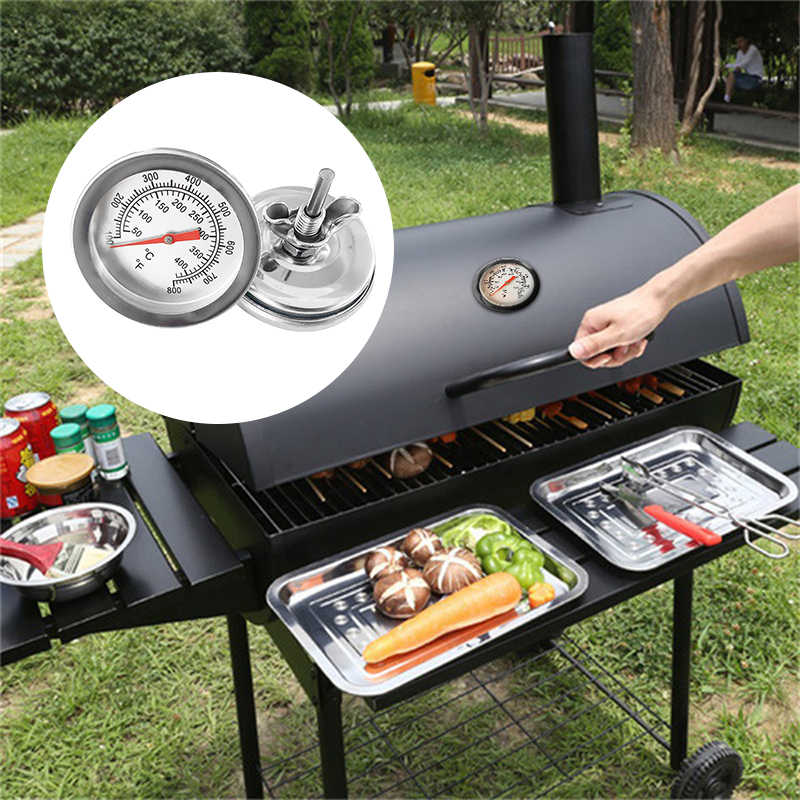 50-400℃ Barbecue BBQ Smoker Grill Thermometer Temperature Gauge Stainless Steel