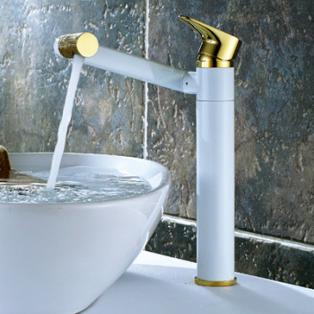Bathroom Basin Faucet Hot & Cold Sink Mixer Tap Brass Rotating Lavatory White Baking Water Crane Tap Single Handle Deck Mounted 8