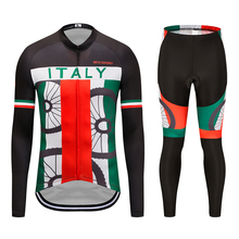 2019 MTB Spring Autumn Cycling Jersey Sets Triathlon ITALY Team Bicycle Shirt Bike men Long Sleeve Cycling Jersey Sets Clothing santic men cycling jersey sets long sleeve warm thermal sport cycling base layer sets skinsuit bike suits kits bicycle clothing