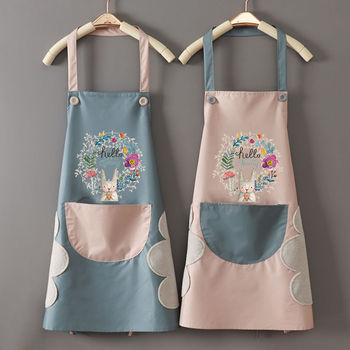Cute Cartoon Rabbit Kitchen Apron Side Wipe Hands Waterproof Oxford Cloth Japanese Style Bib With Pocket Home Cleaning Tool