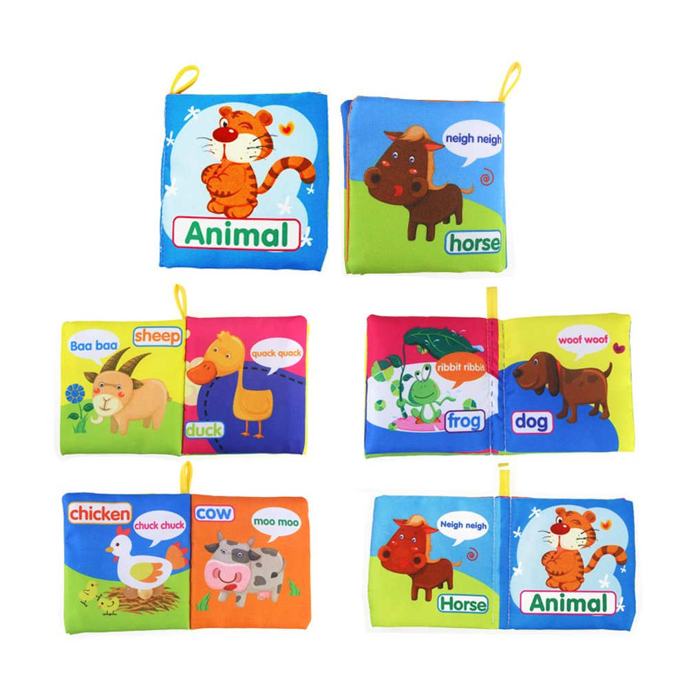 Baby Cloth Book Early Education Toy English Palm Book Animal Digital Shape Recognition Green Cloth Book