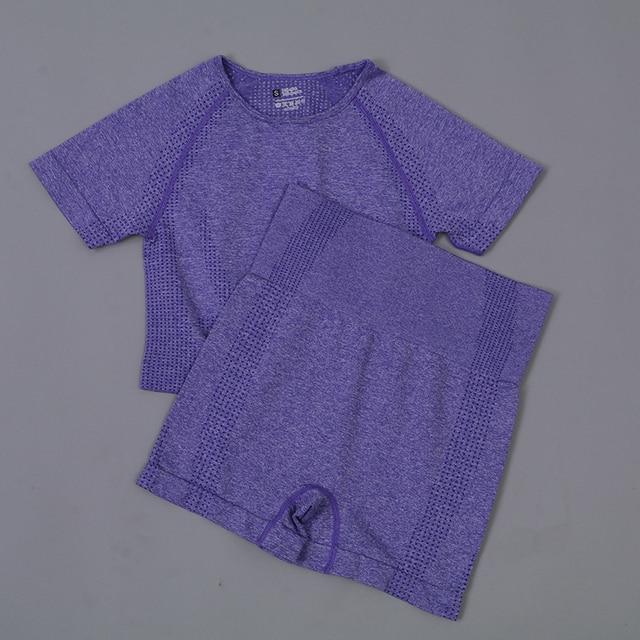 Seamless Yoga Set Gym Set Women Sports Suit Fitness Short Sleeve Crop Top High Waist Shorts Running Clothing Sportswear Set