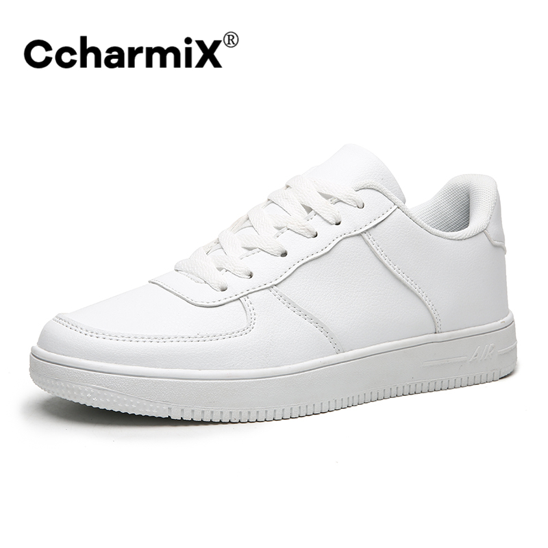 CcharmiX Men Shoes Leather 2020 High Quality Lace Up Fashion Sneakers Mens Casual Shoes Designer White Shoes Men Large Size